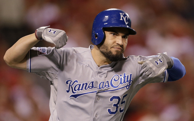 Kansas City Royals' Eric Hosmer celebrates his two-run home run against the Los Angeles Angels in the 11th inning of Game 2 of baseball's AL Division Series in Anaheim, Calif., Friday, Oct. 3, 201 ...