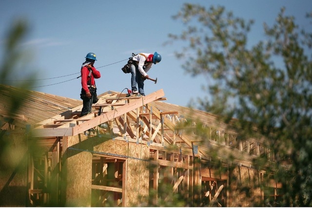 Construction takes place on a Toll Brothers home at Inspirada master-planned community Wednesday, July 30, 2014, in Henderson. (Ronda Churchill/Las Vegas Review-Journal)