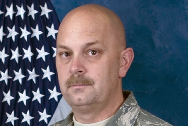 This undated photo released by the Nevada Air National Guard shows Sparks Middle school math teacher and former Marine Michael Landsberry, 45. (AP Photo/Nevada Air National Guard)