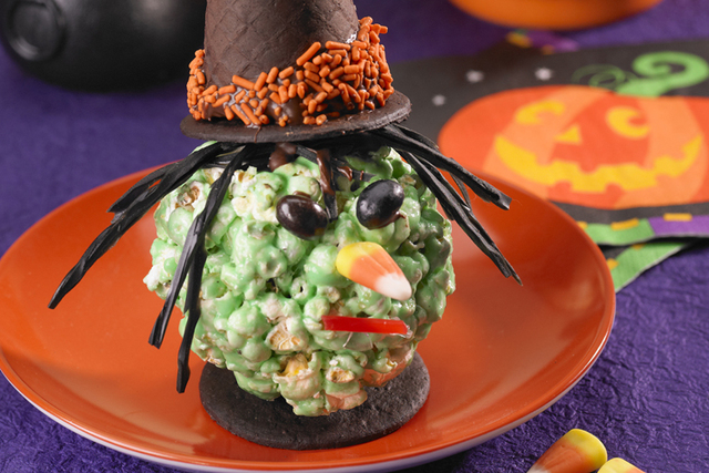 Popcorn, gluten-free, diet-friendly and budget-friendly, is flexible and fun, in Halloween treats such as Witchy Halloween Balls. (Courtesy Popcorn Board)