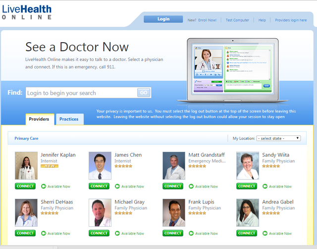 LiveHealth Online home page