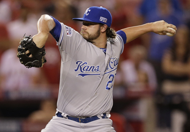 Kansas City Royals pitcher Brandon Finnegan throws against the Los Angeles Angels in the ninth inning of Game 2 of baseball's AL Division Series in Anaheim, Calif., Friday, Oct. 3, 2014. (AP Photo ...