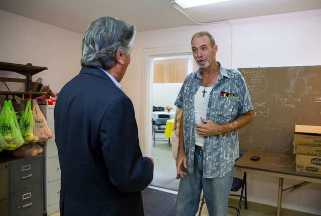 Adolph Kunen, pastor of Westminster Presbyterian Church, left, and Michael Coughlin (cq), talk at Westminster Presbyterian Church, located at 4601 W. Lake Mead Blvd., on Friday, Sept. 26, 2014. Th ...