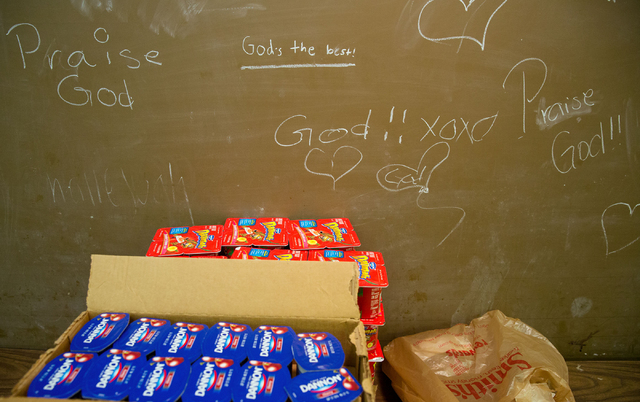 Messages are written on a chalkboard at Westminster Presbyterian Church, located at 4601 W. Lake Mead Blvd., on Friday, Sept. 26, 2014. The church is celebrating its 50th anniversary. (Samantha Cl ...