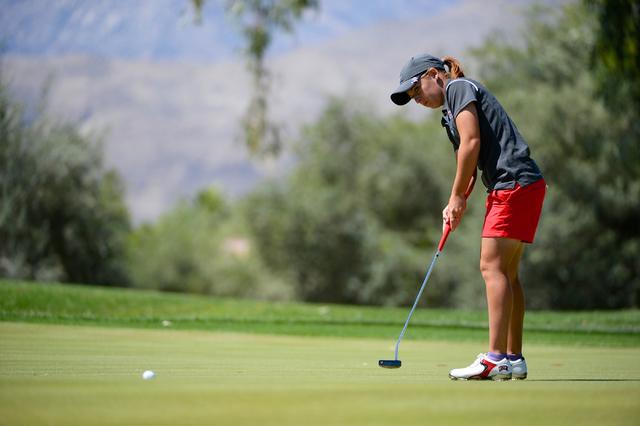 Dana Finkelsein competes during the Mountain West Conference Women's Golf Championship held at the Mission Hills Country Club in Rancho Mirage, Calif., on April 26, 2014. (Brett Wilhelm/NCAA Photos)