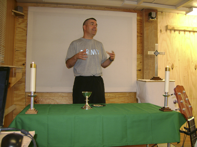 Maj. Harold Woomer Jr., a military chaplain for the Nevada National Guard, was forced to keep services simple while in Afghanistan in 2010. (Courtesy)
