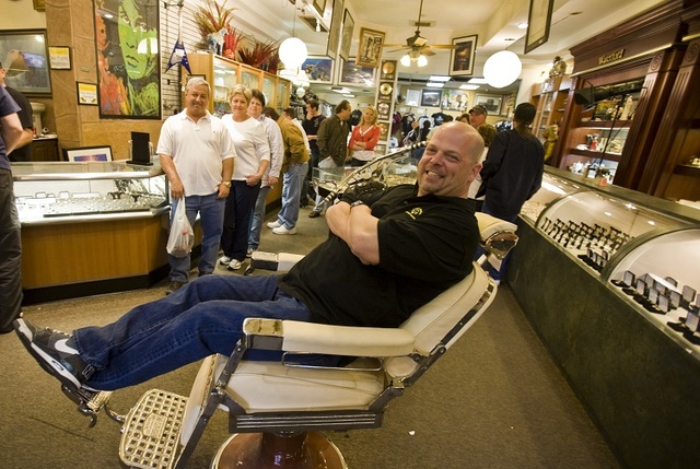 Gold & Silver Pawn Shop co-owner Rick Harrison reclines in a barber chair at his shop at 713 La ...