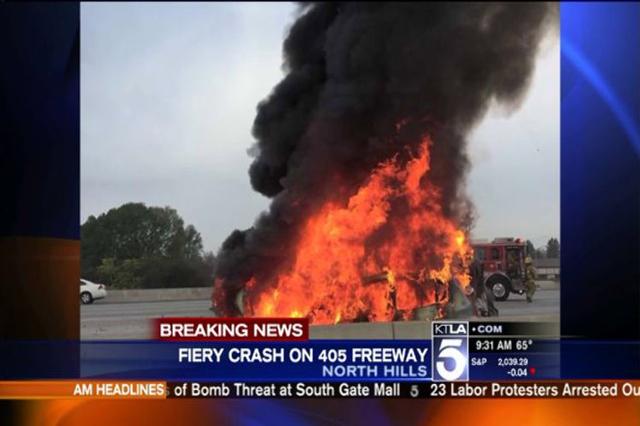 1 killed in fiery multivehicle accident on LA freeway | Las