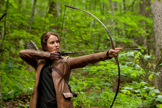 "In this image released by Lionsgate, Jennifer Lawrence portrays Katniss Everdeen in a scene from ""The Hunger Games."" (AP Photo/Lionsgate, Murray Close, File)"