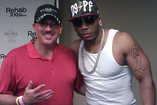 Celebrity agent Mike Esterman with hip hop star Nelly at the Hard Rock Hotel in summer 2014. (Courtesy/Mike Esterman)