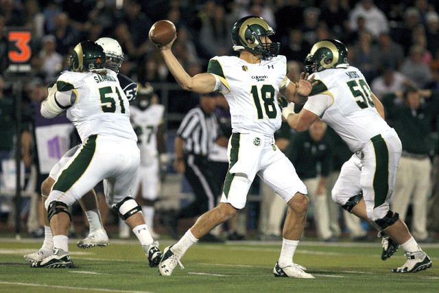 Colorado State Rams quarterback Garrett Grayson (18) completes a pass against the Nevada Wolf Pack at MacKay Stadium on Oct. 11, 2014. (Lance Iversen-USA TODAY Sports)