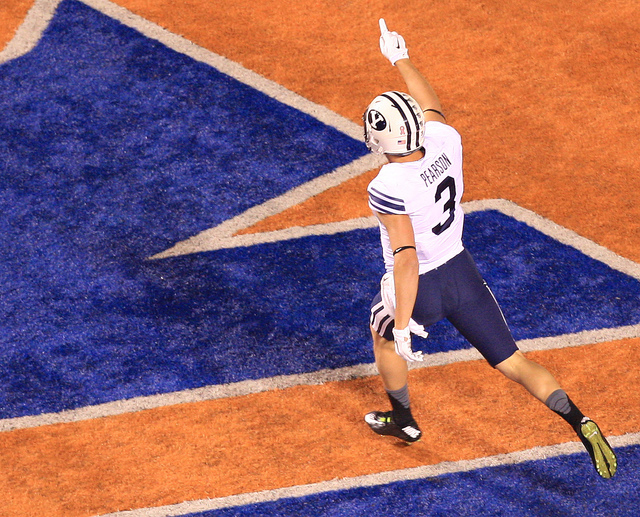 Brigham Young wide receiver Colby Pearson (3) celebrates after scoring a touchdown during the first half against the Boise State at Albertsons Stadium on Oct. 24, 2014. (Brian Losness-USA TODAY Sp ...