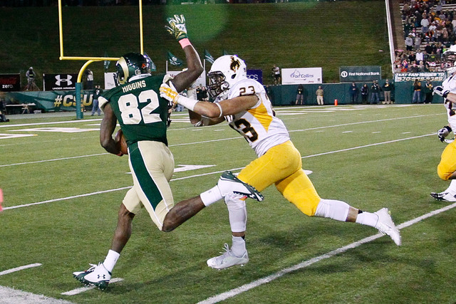 Offensive player: Colorado State wide receiver Rashard Higgins. Higgins (82) is pursued by Wyoming safety Tim Kamana. (Mandatory Credit: Isaiah J. Downing-USA TODAY Sports)