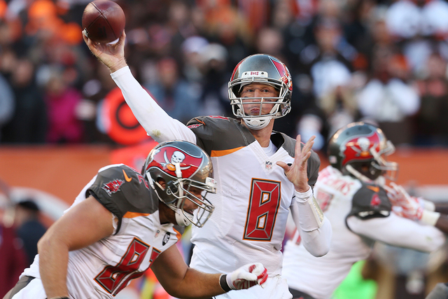 Nov 2, 2014; Cleveland, OH, USA; Tampa Bay Buccaneers quarterback Mike Glennon (8) throws a pass against the Cleveland Browns during the fourth quarter at FirstEnergy Stadium. The Browns won 22-17 ...