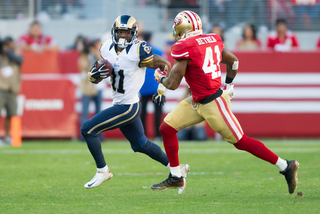Nov 2, 2014; Santa Clara, CA, USA; St. Louis Rams wide receiver Tavon Austin (11) returns a punt against San Francisco 49ers strong safety Antoine Bethea (41) during the fourth quarter at Levi's S ...