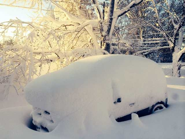 A car is covered in snow in Orchard Park outside of Buffalo, New York, November 19, 2014. (REUTERS/Judith Gros)