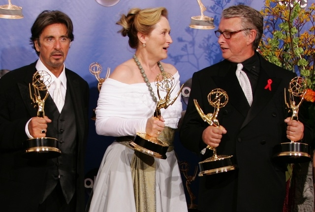 """Actress Meryl Streep is joined by """"Angels in America"""" director Mike Nichols, right, and fellow cast member Al Pacino backstage at the 56th annual Primetime Emmy Awards in Los Angeles, Sept. 19, 20 ..."""