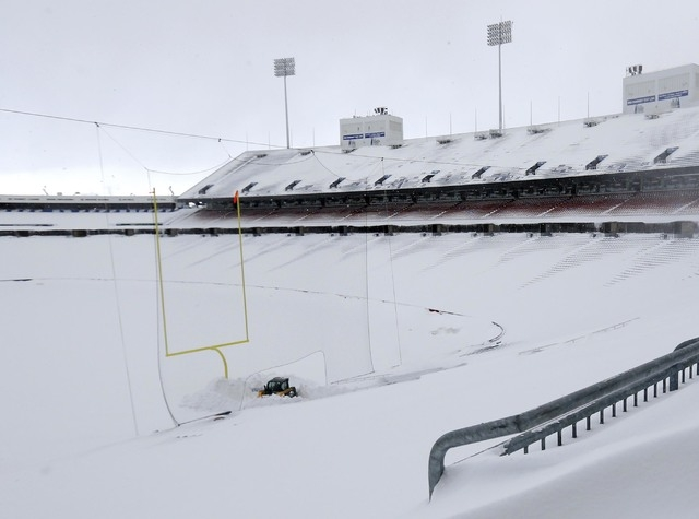 Nov 20, 2014; Orchard Park, NY, USA; A general view of the field and seating area of Ralph Wilson Stadium after a major snow storm hit the area. Mandatory Credit: Kevin Hoffman-USA TODAY Sports