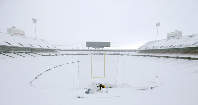 Nov 20, 2014; Orchard Park, NY, USA; A general view of the football field and seating area of Ralph Wilson Stadium after a major snow storm hit the area. Mandatory Credit: Kevin Hoffman-USA TODAY  ...