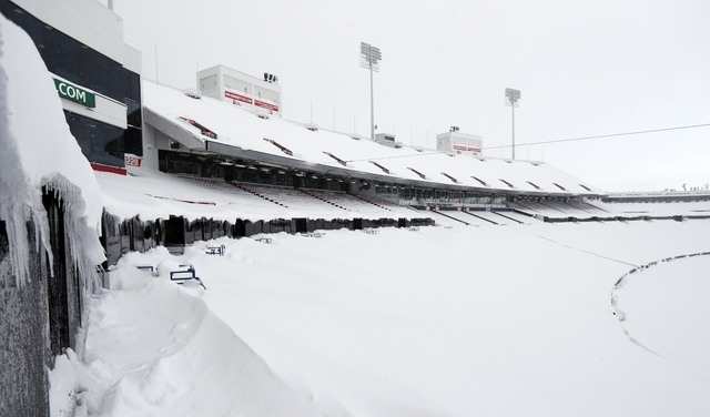 Nov 20, 2014; Orchard Park, NY, USA; A general view of the field and seating area of Ralph Wilson Stadium after a major snow storm hit the area. (Kevin Hoffman-USA TODAY Sports)