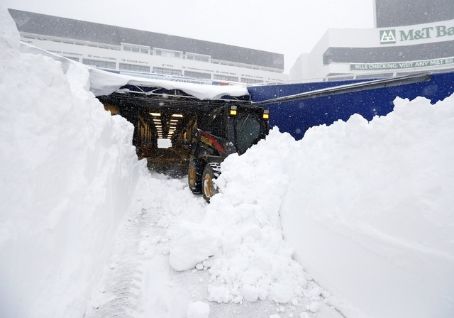 Nov 20, 2014; Orchard Park, NY, USA; After a major snow storm a grounds crew worker begins to clear snow from the football field at Ralph Wilson Stadium. Mandatory Credit: Kevin Hoffman-USA TODAY  ...