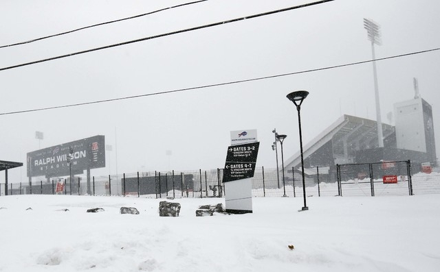 Nov 20, 2014; Orchard Park, NY, USA; A general view of the outside of Ralph Wilson Stadium after a major snow storm hit the area. (Kevin Hoffman-USA TODAY Sports)