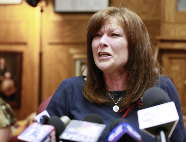 Susan Hunt, mother of Darrien Hunt, speaks during a press conference concerning the autopsy of her son, Tuesday, Oct. 28, 2014 in Salt Lake City, Utah. Hunt, 22, killed by Utah police, died of mul ...