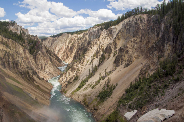 Yellowstone Falls in Yellowstone National Park in Wyoming is shown July 22, 2014. The prospect of streaming wireless service deep inside Yellowstone National Park is reigniting the debate over tec ...