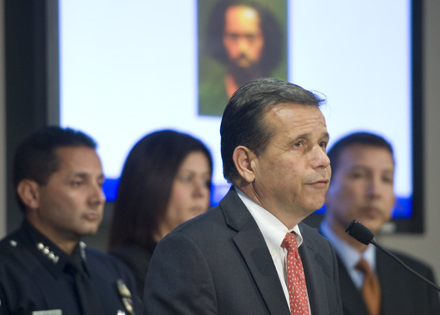 Santa Ana Mayor Miguel Pulido takes part in a press conference where police announce the arrest of the suspected driver in a Halloween hit-and-run resulting in three deaths. Jaquinn Bell, 31, was  ...