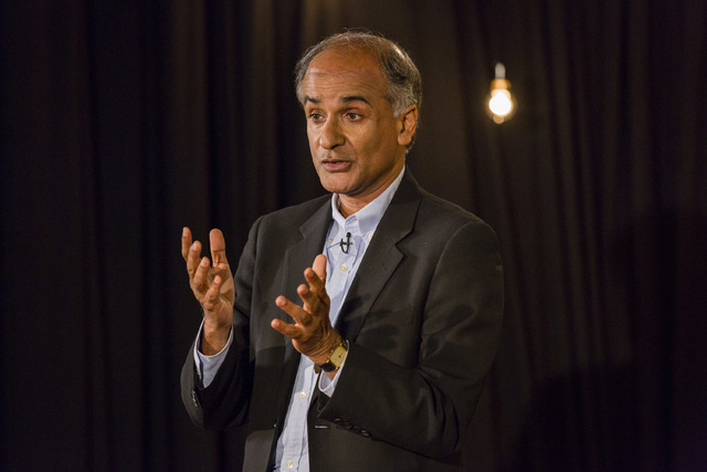 In this Aug. 6, 2014 photo provided by TED, Pico Iyer speaks at the TED@250, The Non-Fiction Edition, TED head quarters, in New York. Iyer has spent the past several decades on the move, incessant ...