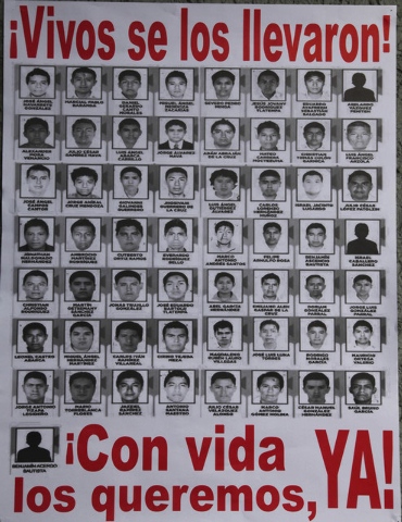 A poster seen at a demonstration at the Angel of Independence, shows images of the 43 disappeared rural college students, in Mexico City, Saturday, Nov. 8, 2014. Suspects in the disappearance of t ...