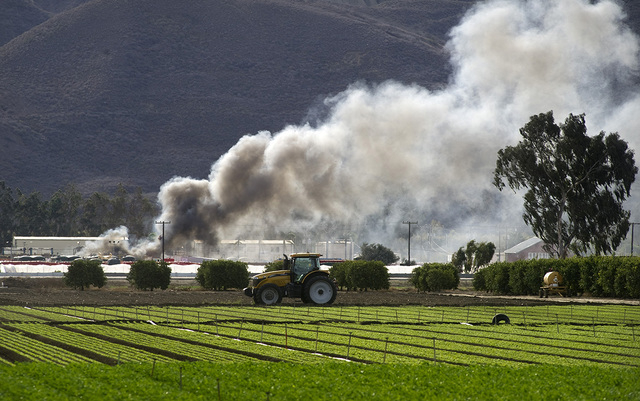 Smoke billows above the scene of a fire at  the Santa Paula Waste Water Company near Santa Paula , Calif., agricultural fields Tuesday, Nov. 18, 2014.  The incident began when a vacuum truck explo ...