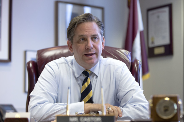 Commissioner Bruce Castor, a former Montgomery County District Attorney, speaks during an interview with The Associated Press Wednesday, Nov. 19, 2014, in Norristown, Pa. The ex-suburban Philadelp ...