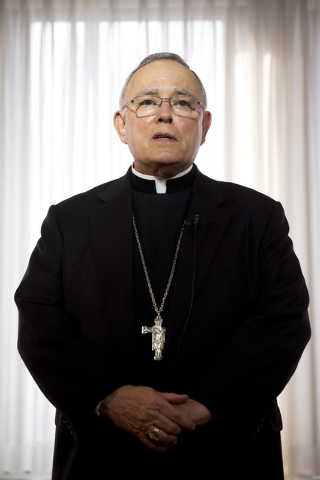 Philadelphia Archbishop Charles Chaput speaks during a news conference Monday, Nov. 24, 2014, in Philadelphia. Roman Catholic leaders in Philadelphia are predicting as many as 2 million people cou ...