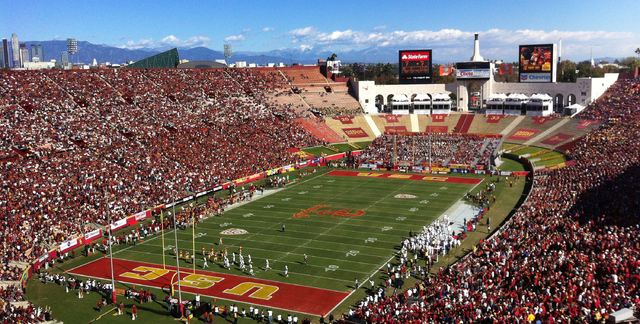 The University of Southern California plays Arizona State University in football at the Los Angeles Memorial Coliseum, Nov. 11, 2012. Glamour, celebrities, perfect weather. A revitalized and growi ...