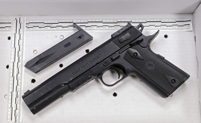 This fake handgun taken from 12-year-old Tamir Rice, who was fatally shot by Cleveland police over the weekend, is displayed after a news conference Wednesday, Nov. 26, 2014. The 12-year-old was s ...