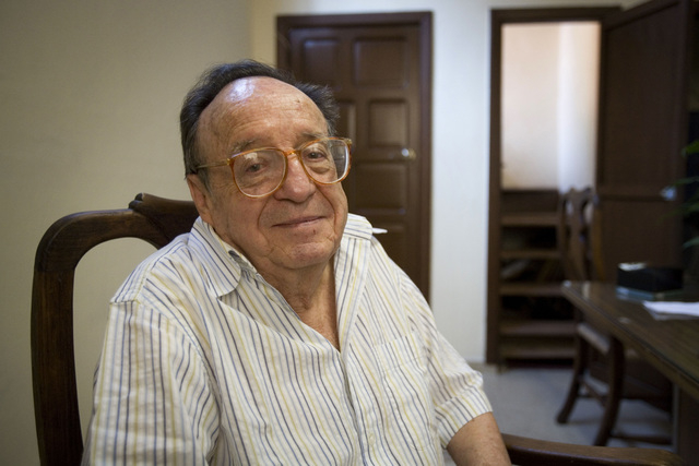 FILE - In this Feb. 26, 2008 file photo, Mexican actor Roberto Bolanos, famous for his television character Chespirito, poses before a news conference in Mexico City. The famed comedian has died a ...