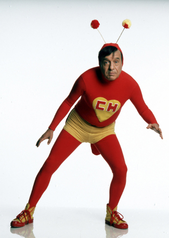 In this undated photo released by the television network Televisa on Friday, Nov. 28, 2014, Mexican comedian Roberto Gomez Bolanos poses for a photo as his famous character Chespirito. According t ...