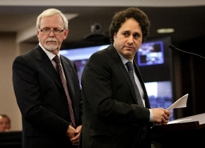 Palms minority owner George Maloof, right, appears before the Nevada Gaming Commission on Thursday at the Sawyer Building. Frank Schreck, an attorney for the Palms, is at left.