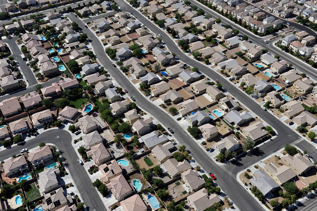 An aerial view of a North Las Vegas residential community are seen, Tuesday, Sept. 9, 2014. (David Becker/Las Vegas Review-Journal)
