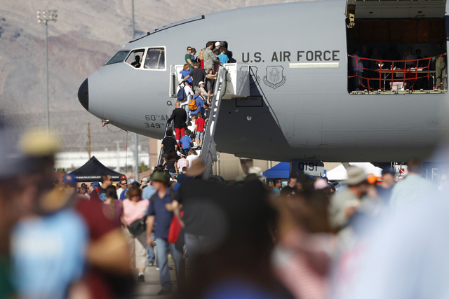 People get in line to view an U.S. Air Force cargo aircraft during the Aviation Nation air show at Nellis Air Force Base in Las Vegas Saturday, Nov. 8, 2014. (Erik Verduzco/Las Vegas Review-Journal)