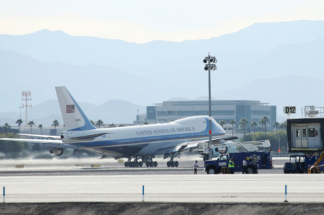 Air Force One rolls on a takeoff at McCarran International Airport in Las Vegas, Nov. 1, 2012. President Barack Obama is returning to Las Vegas on Friday to sign an executive order on immigration. ...