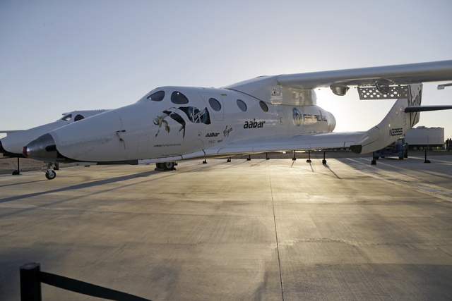 Virgin Galactic's SpaceShipTwo is shown at a Virgin Galactic hangar at Mojave Air and Space Port in Mojave, California, Sept. 25, 2013. Virgin Galactic has reported an unspecified problem during a ...