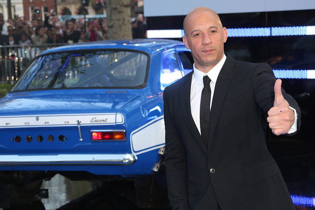"""Actor Vin Diesel arrives for the World Premiere of """"Fast & Furious 6"""" at a central London cinema in Leicester Square, May 7, 2013. (Photo by Joel Ryan/Invision/AP)"""