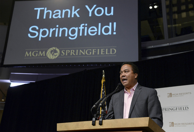 Mike Mathis, president and CEO of MGM Springfield, speaks Tuesday, Nov. 4, 2014, to supporters gathered at the Basketball Hall of Fame in Springfield,Mass., following the election night defeat of  ...