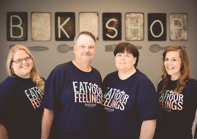 From left, Kristin, Jack, Beth and Samantha Krerowicz pose for a photo in Bakeshop, 2550 Anthem Village Drive, Suite 190. The family opened the bakery in August, offering customers a home away fro ...