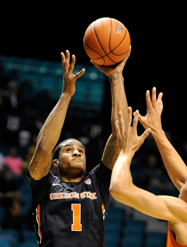 Oregon State's Gary Payton II shoots against Oklahoma State during the first half of a NCAA basketball game during the MGM Grand Main Event at the MGM Grand Garden Arena on Monday, Nov. 24, 2014,  ...