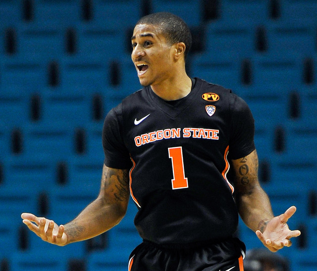 Oregon State's Gary Payton II reacts during the first half of a NCAA basketball game against Oklahoma State during the MGM Grand Main Event at the MGM Grand Garden Arena on Monday, Nov. 24, 2014,  ...