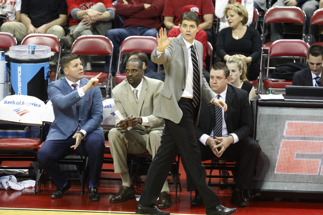 UNLV head coach Dave Rice gives instruction to his team during their game against Albany Saturday, Nov. 29, 2014 at the Thomas & Mack Center. (Sam Morris/Las Vegas Review-Journal)