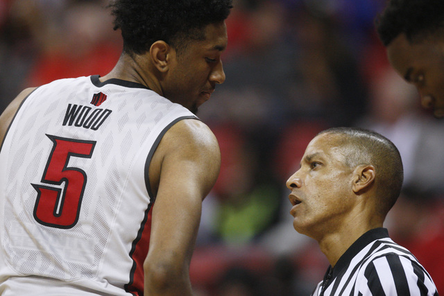 UNLV forward Christian Wood talks with official Verne Harris during their game against Albany Saturday, Nov. 29, 2014 at the Thomas & Mack Center. (Sam Morris/Las Vegas Review-Journal)
